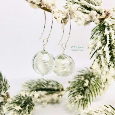 handmade stylish white with gold foil murano glass silver earrings perfect every day wear ice queen collection