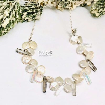 ice queen collection handcrafted stering silver necklace designed with white coin pearls and crystals