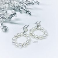 handcrafted sterling silver and white freshwater pearls hoop style earrings ice queen collection